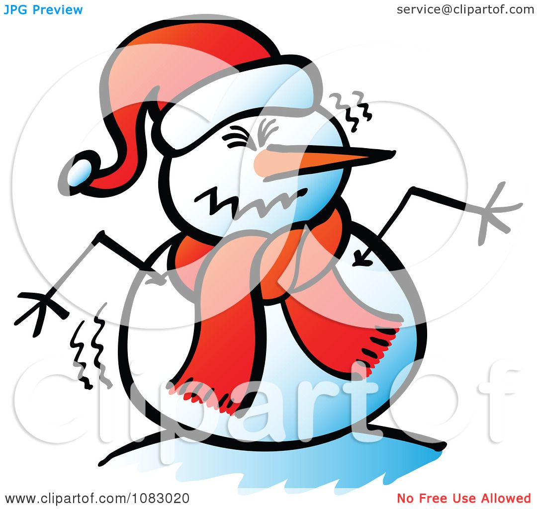 Clipart Expressive Snowman Shaking - Royalty Free Vector Illustration