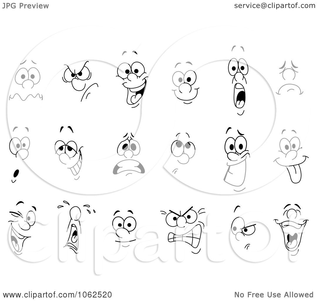 Clipart facial expressions digital collage royalty free - Clipart illustration ...