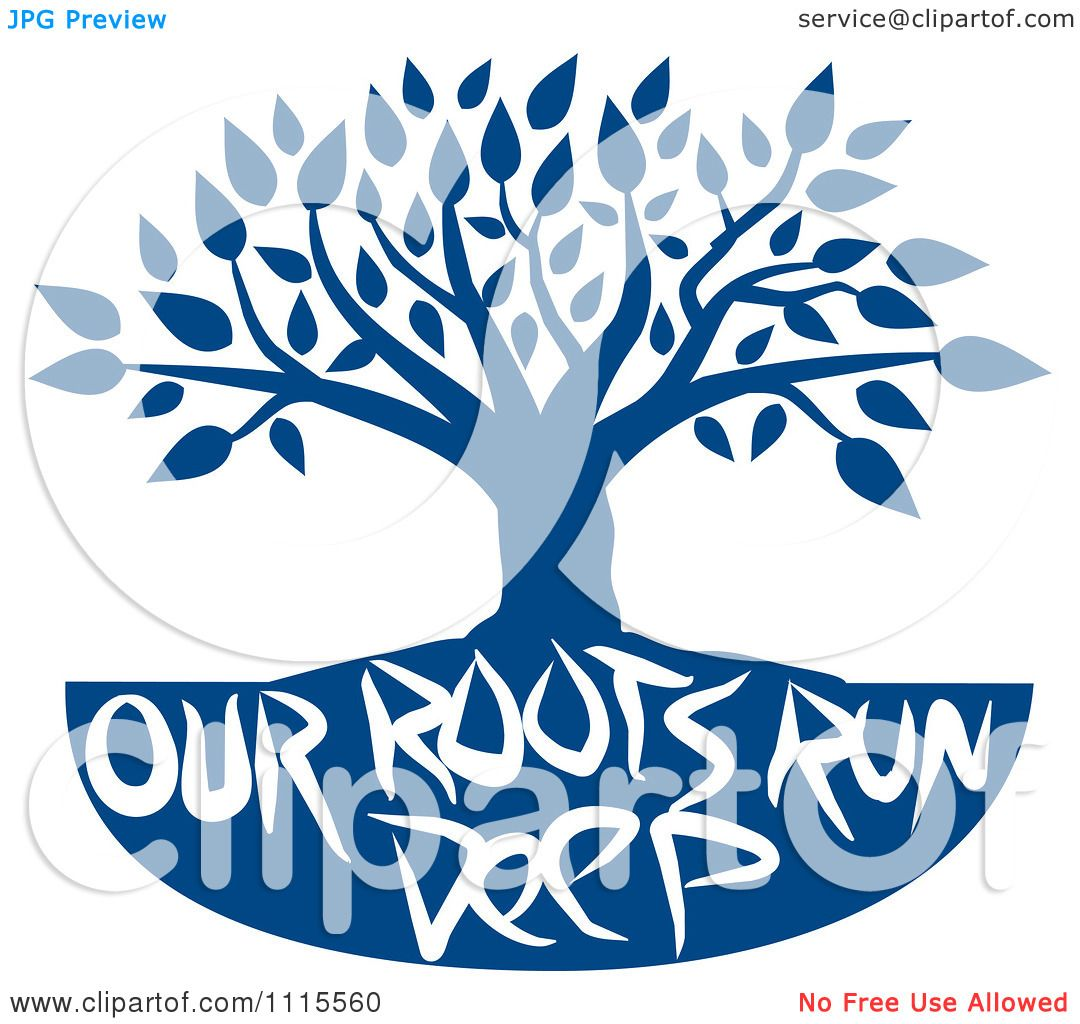 Clipart Family Tree With Our Roots Run Deep Text In Blue Royalty Free Vector Illustration By