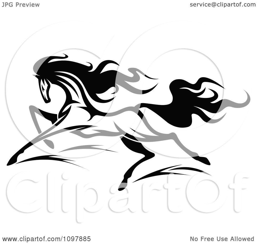 Running Horse Clipart Black And White Clipart Fast Black And White