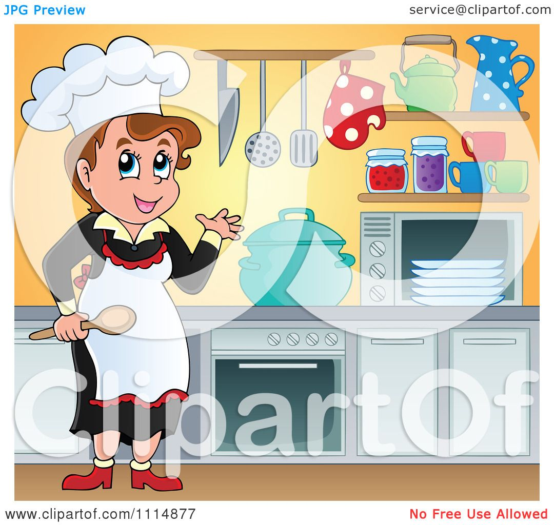 Clipart Female Chef Cooking In A Professional Kitchen - Royalty Free ...