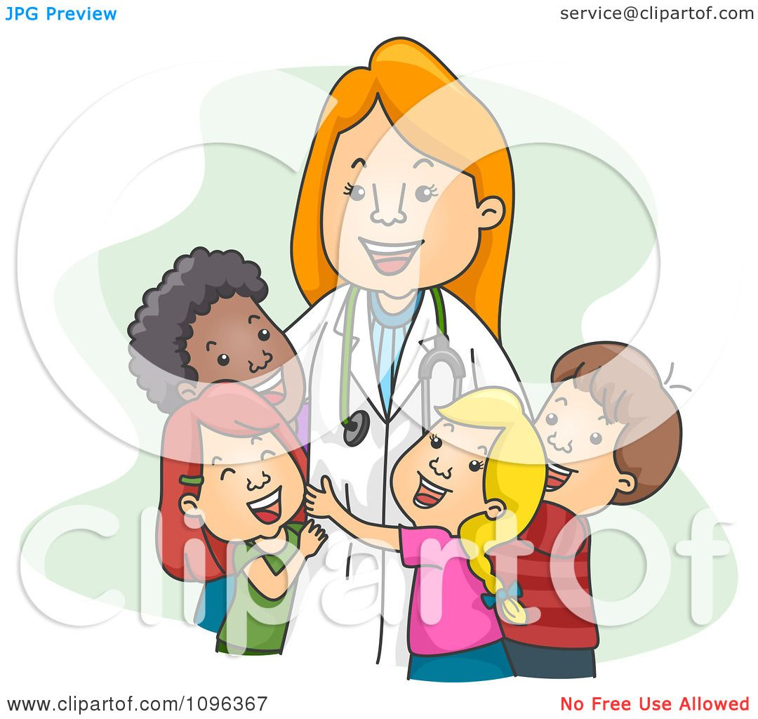 Clipart Female Pediatrician Doctor Hugging Her Child ...