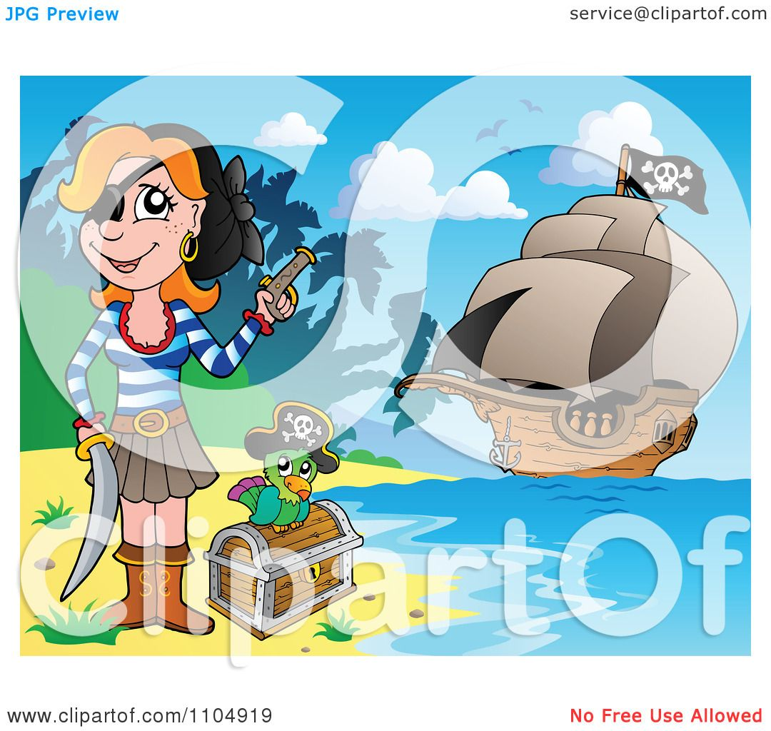 Clipart Female Pirate On A Beach With A Parrot And ...