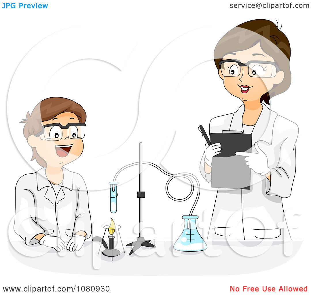 Clipart Female Science Teacher Overlooking A Male Students ...