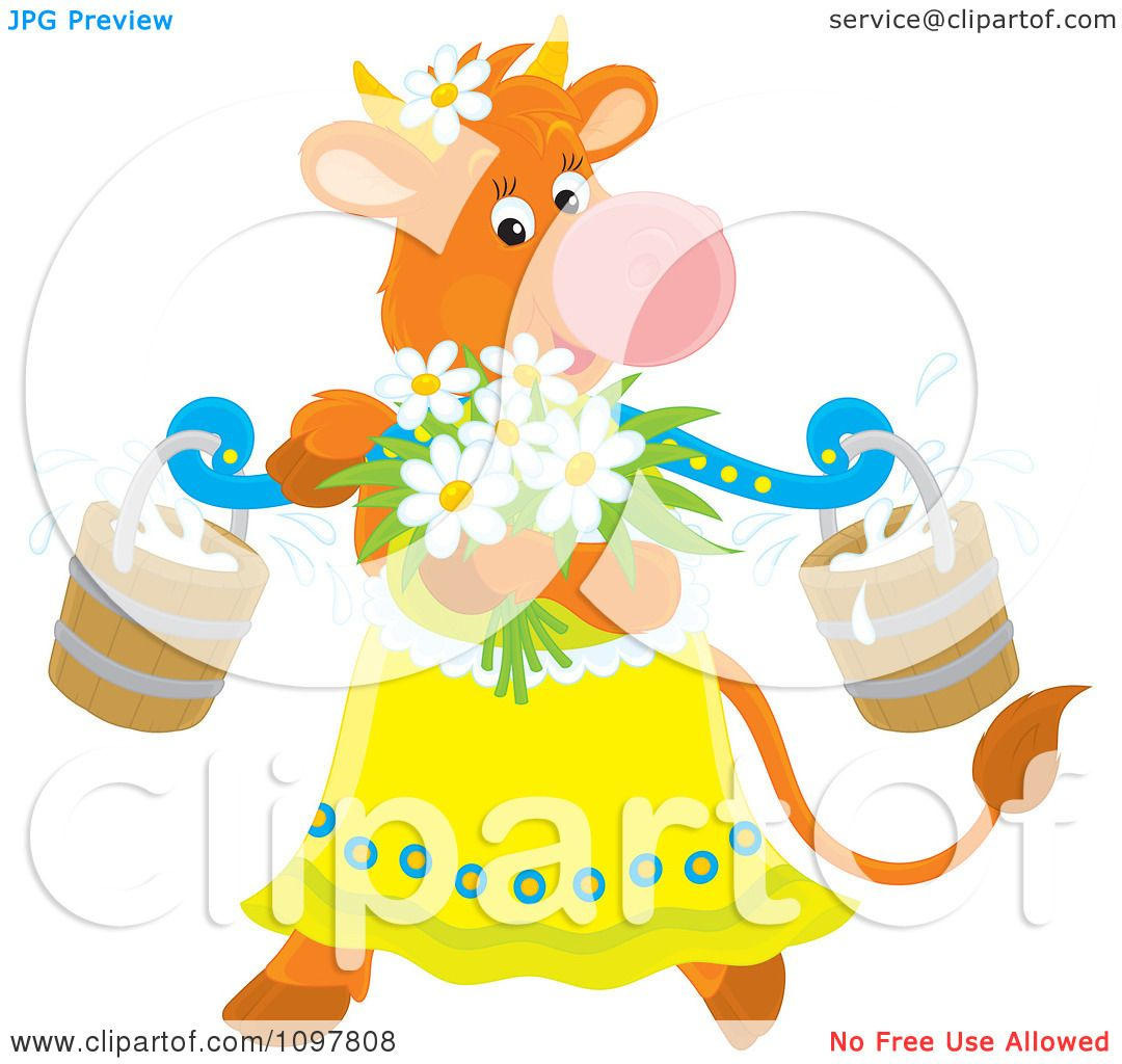 clipart feminine dairy cow with flowers and milk buckets royalty
