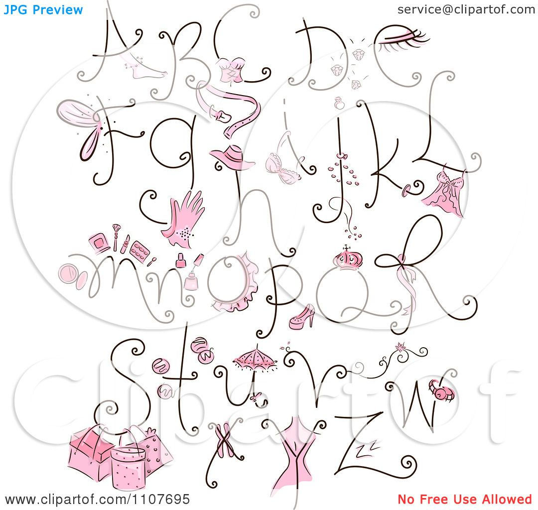 clipart feminine letter design elements with pink items. Black Bedroom Furniture Sets. Home Design Ideas