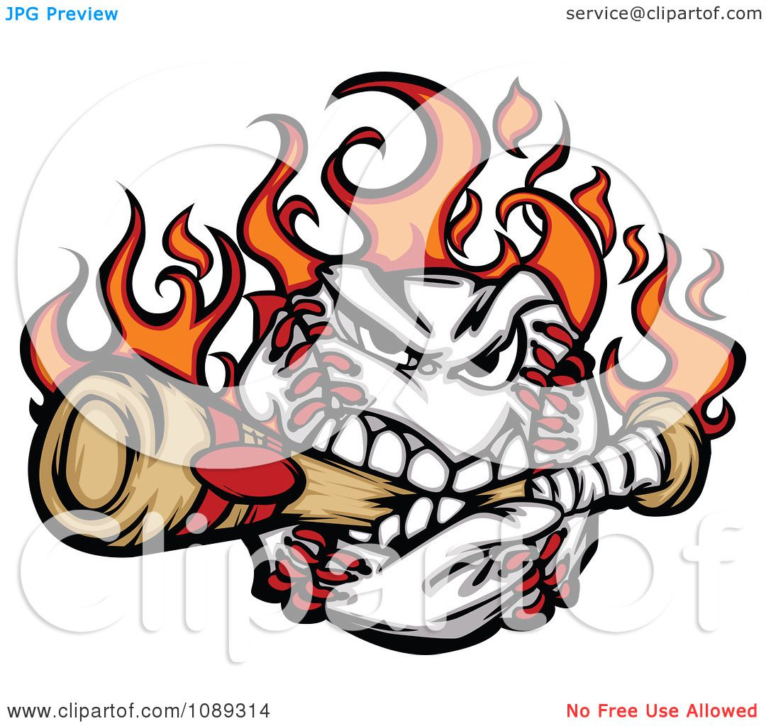 clipart flaming baseball mascot biting a bat royalty free vector rh clipartof com Bat Making Contact Baseball Bat Clip Art