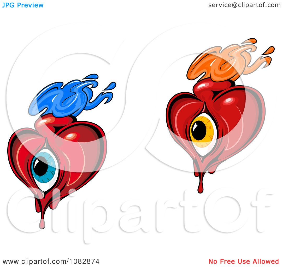 da2d4f3ced6f Clipart Flaming Hearts With Blue And Orange Eyes - Royalty Free Vector  Illustration by Vector Tradition SM