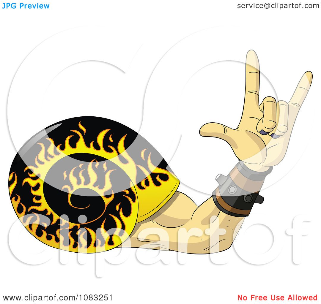 Clipart Flaming Snail Shell And Rock And Roll Hand Royalty Free