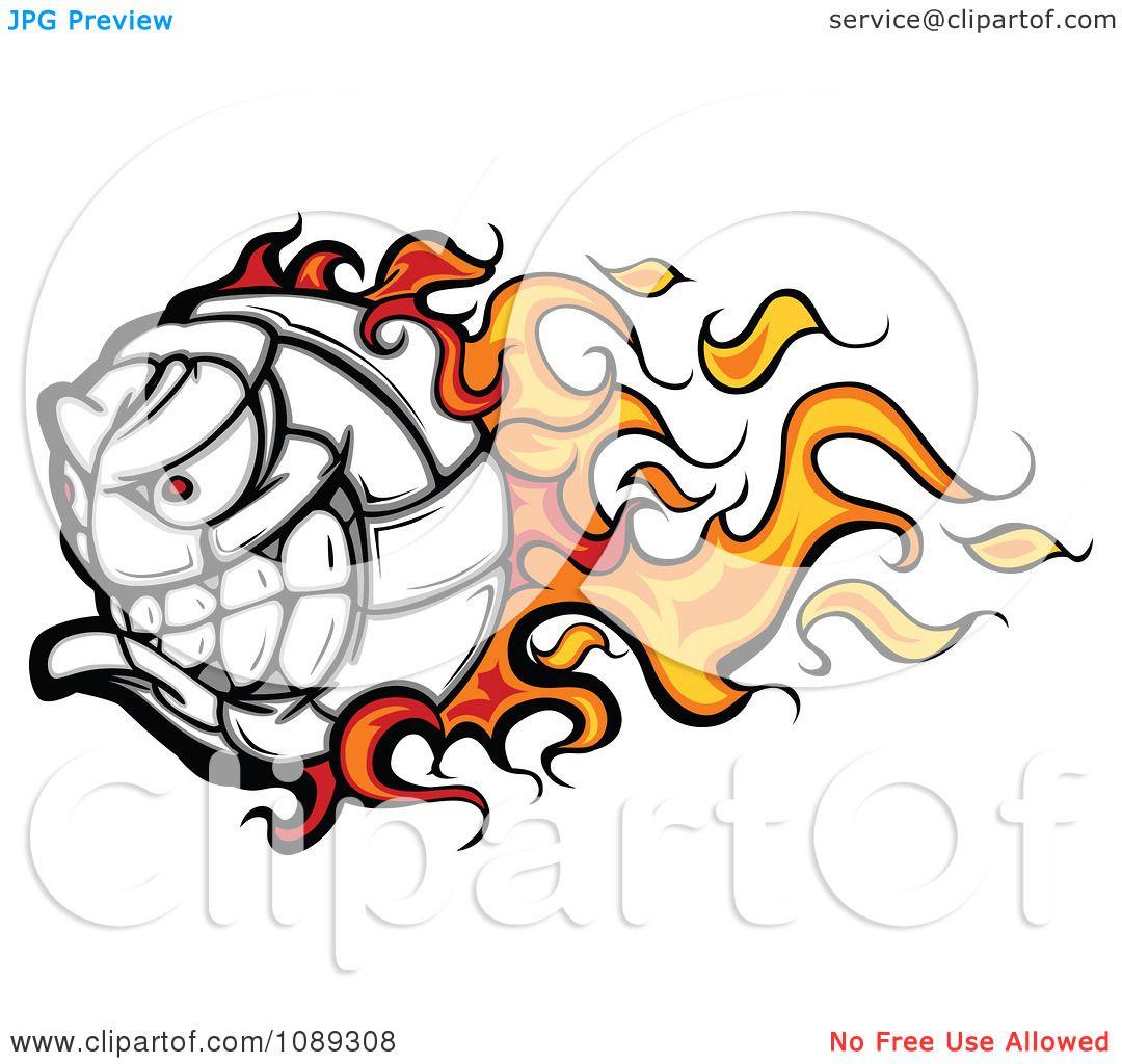 Clipart Flaming Volleyball Ball Mascot - Royalty Free ...