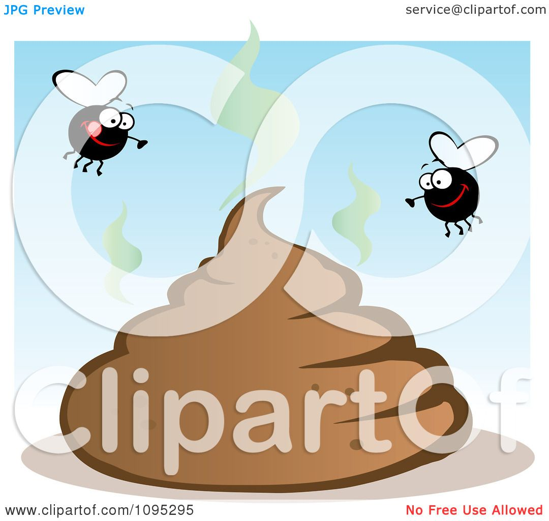 Clipart Flies Over A Smelly Pile Of Poop - Royalty Free Vector ...
