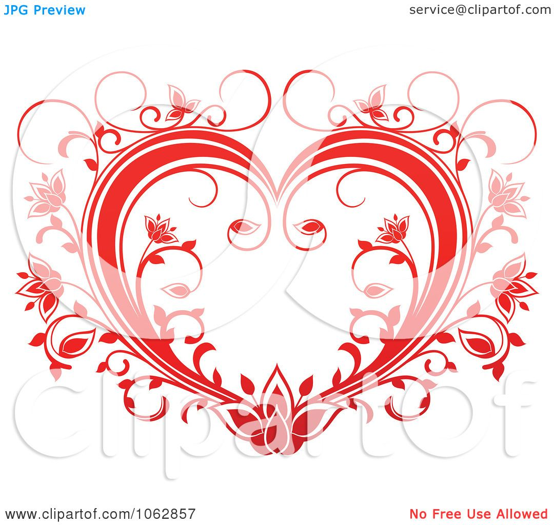 Clipart Floral Red Heart 15 - Royalty Free Vector Illustration by ...