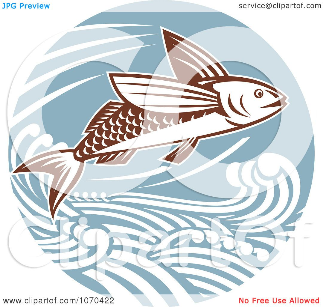 Clipart Flying Fish And Waves - Royalty Free Vector Illustration by ...