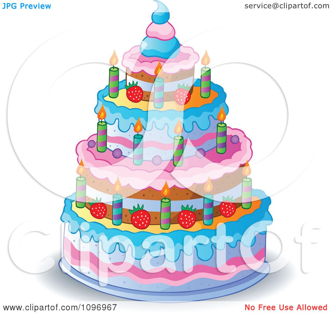 Clipart Four Tiered Colorful Birthday Cake With Candles