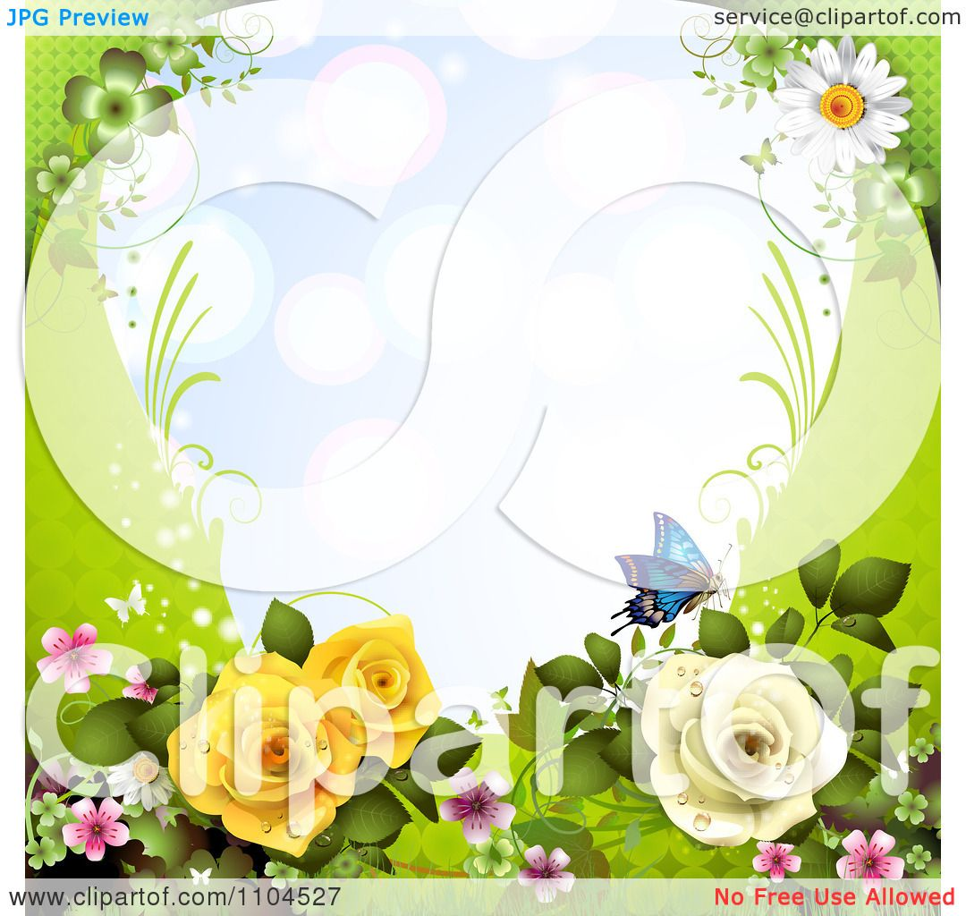 Clipart Frame With Roses Blossoms Daisies And Butterflies