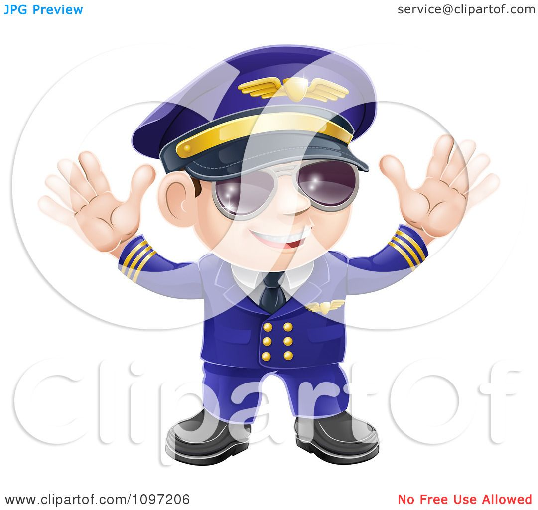 ed2104d186 Clipart Friendly Airline Pilot Wearing Sunglasses And Waving With Both  Hands Royalty Free Vector Illustration