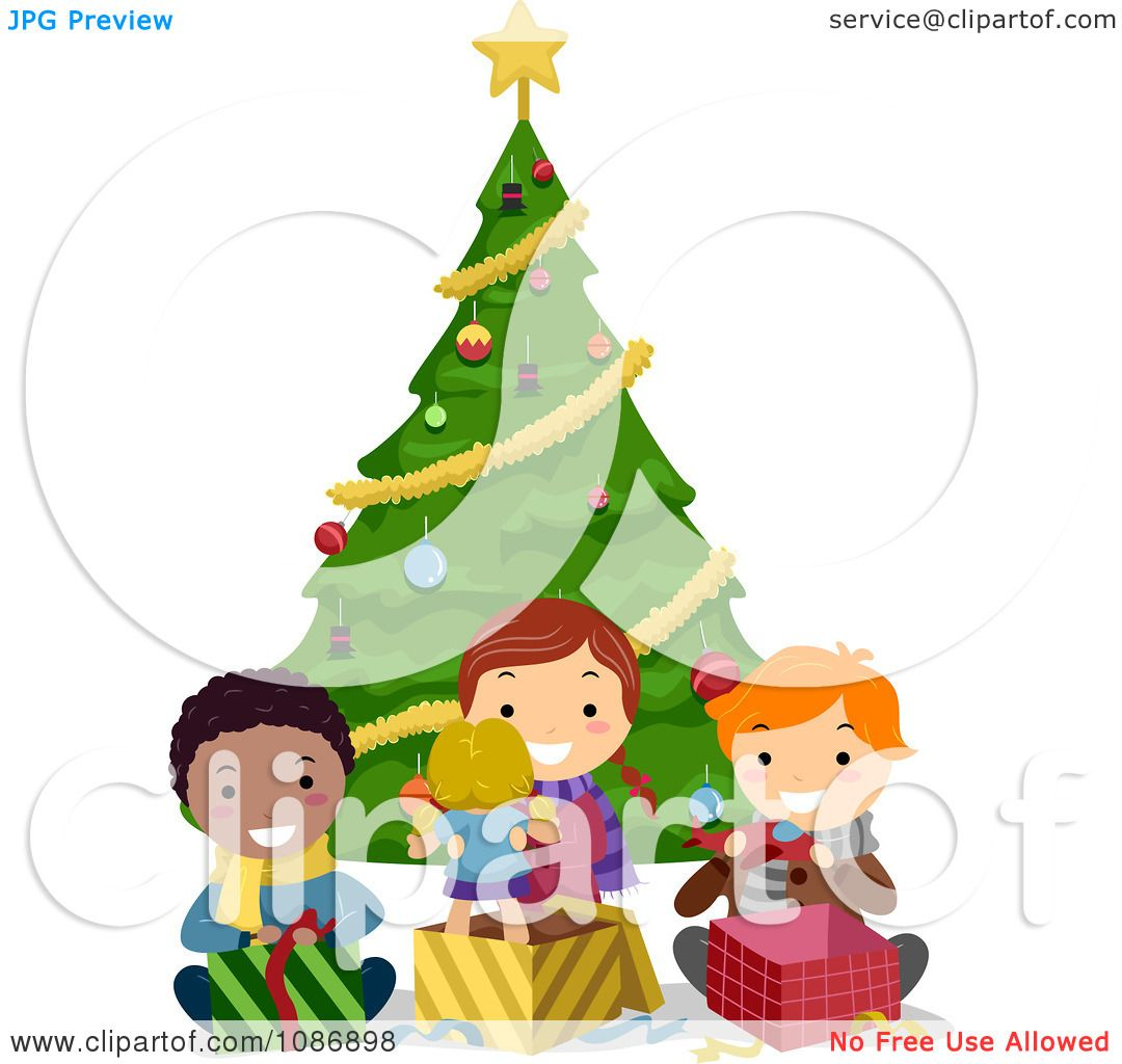 Clipart Friends Opening Their Christmas Presents By A Tree ...