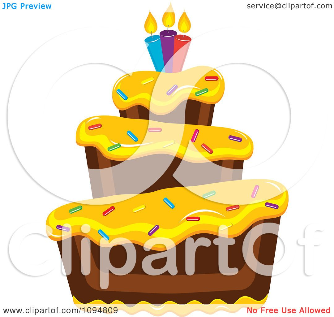 Clipart Funky Tiered Chocolate Cake With Yellow Frosting
