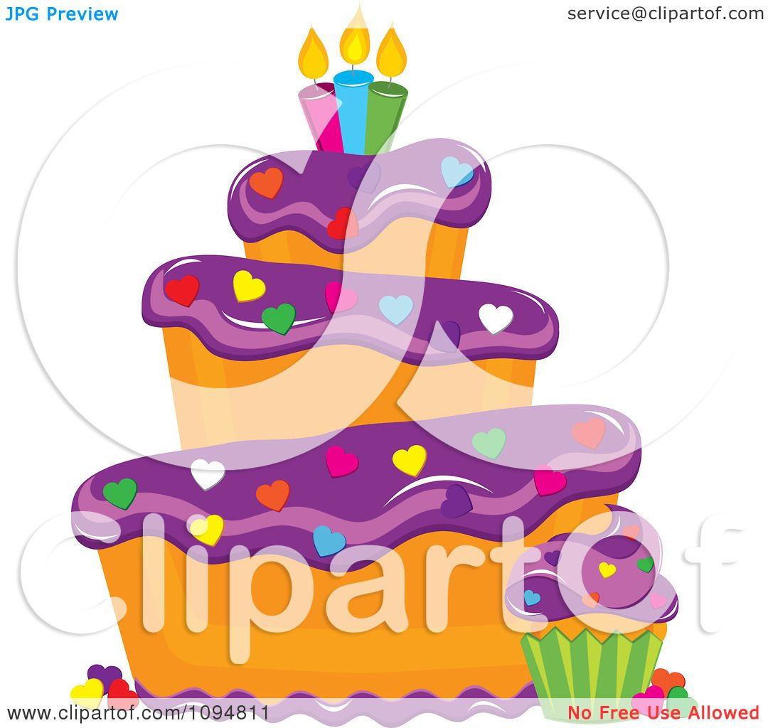 Clipart Funky Tiered Vanilla Cake And Cupcake With Purple Frosting Heart Sprinkles Candles