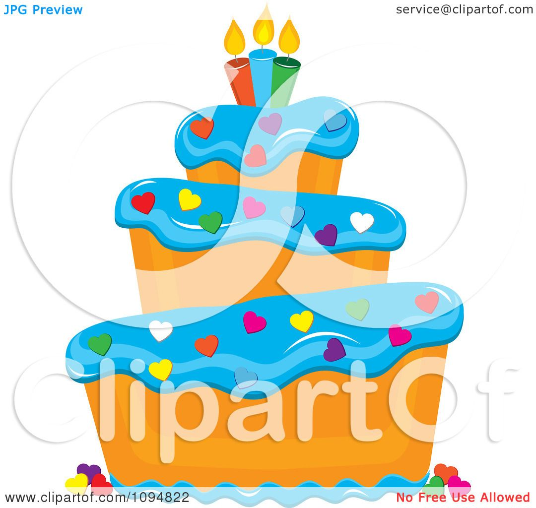 Clipart Funky Tiered Vanilla Cake With Blue Frosting