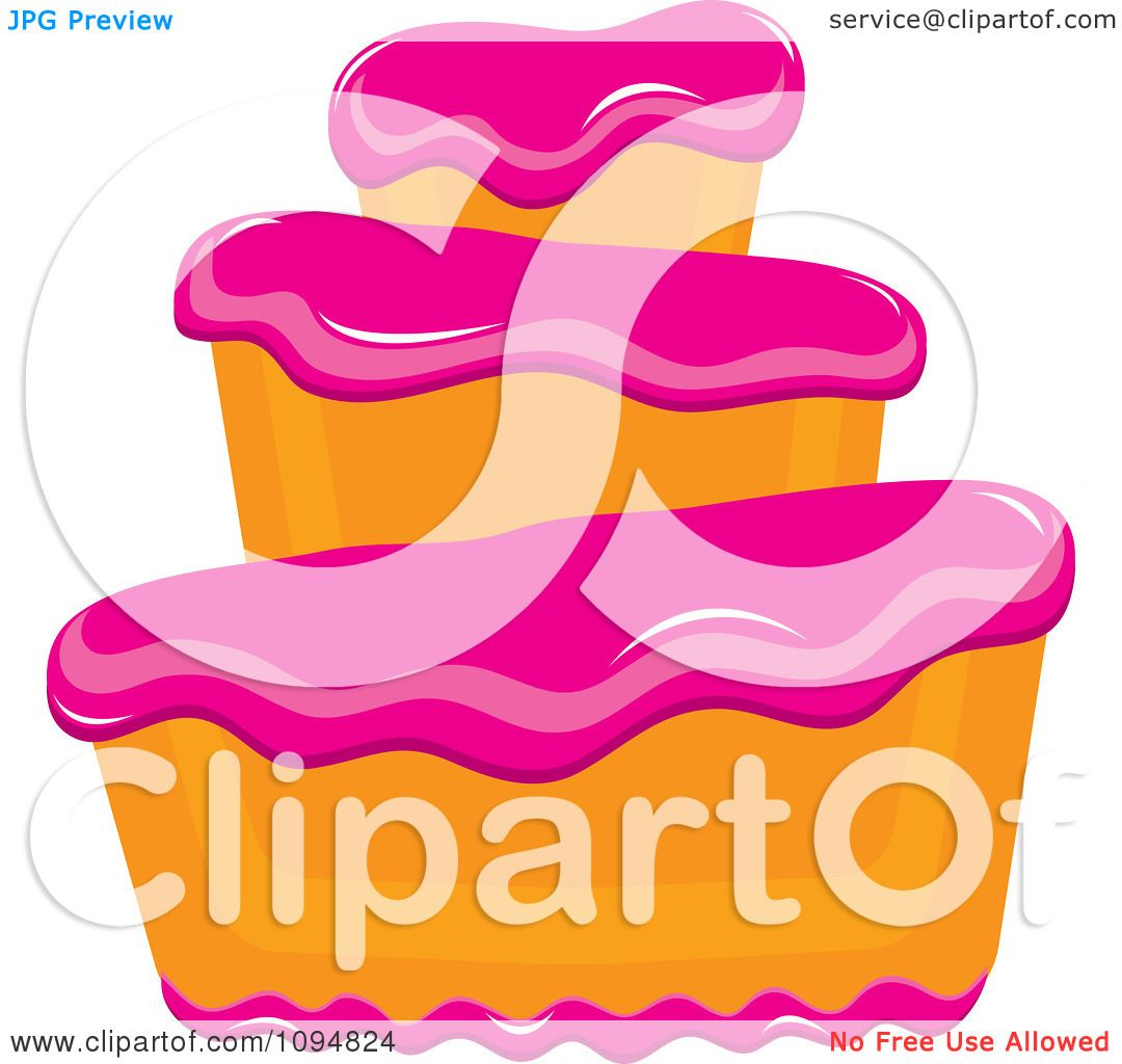 Cake With Icing Vector : Clipart Funky Tiered Vanilla Cake With Pink Frosting ...