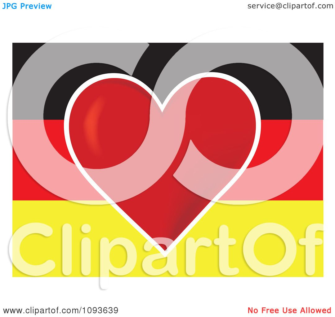 Clipart German Flag With A Red Heart In The Center - Royalty Free ...