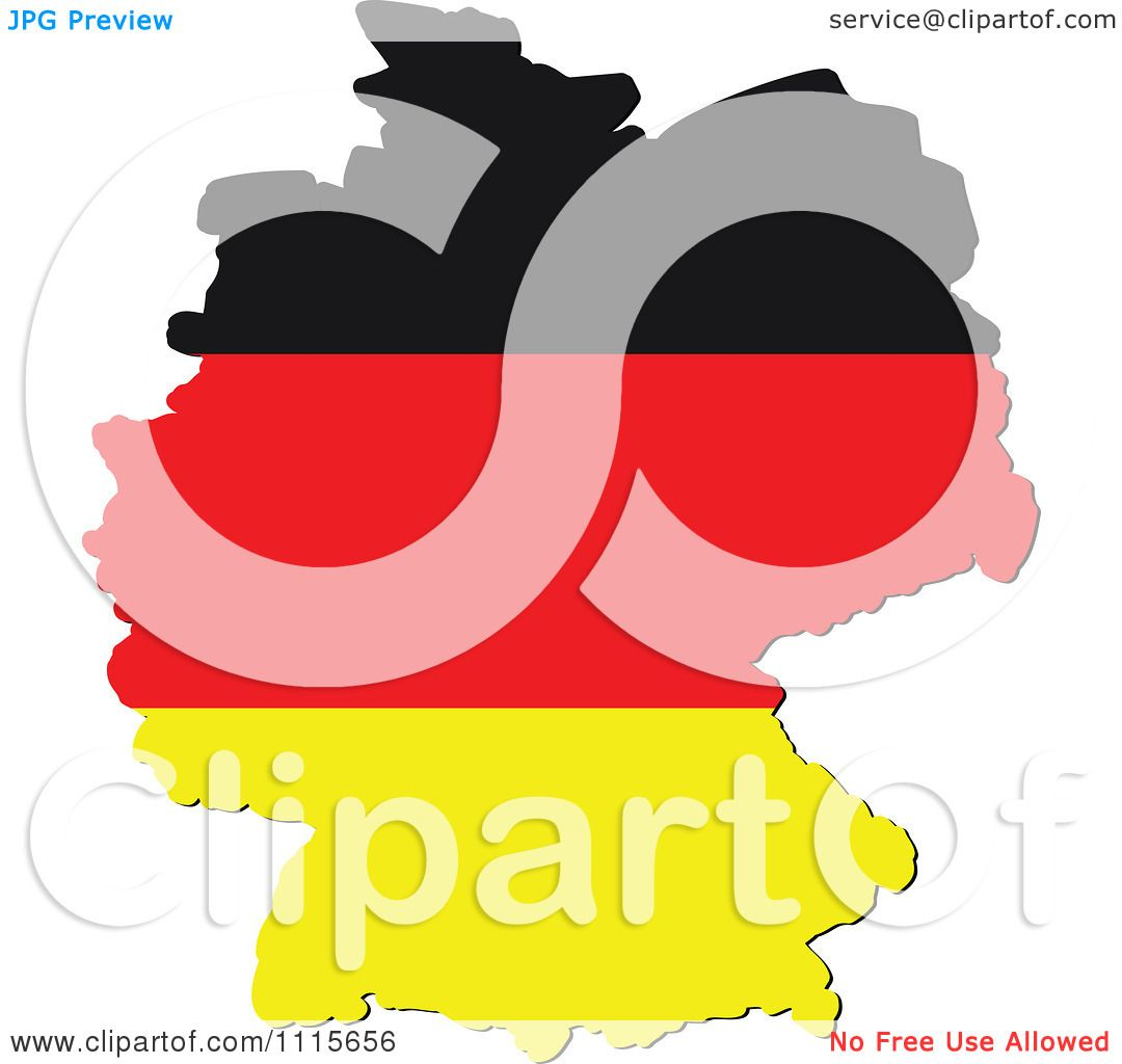 Clipart Germany Map With Flag Colors Royalty Free Vector - Germany map clipart