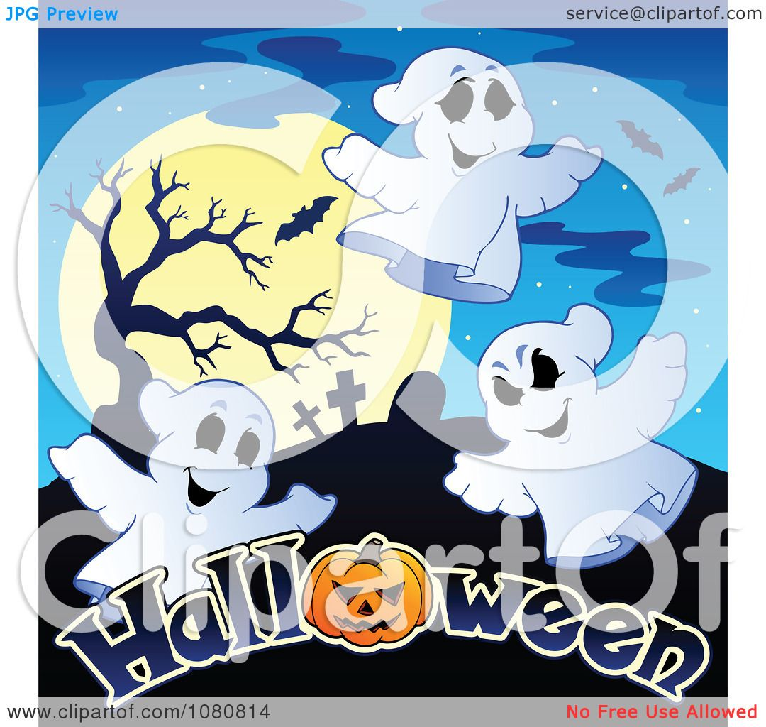 New Moon Clip Art Clipart ghosts a full moon and