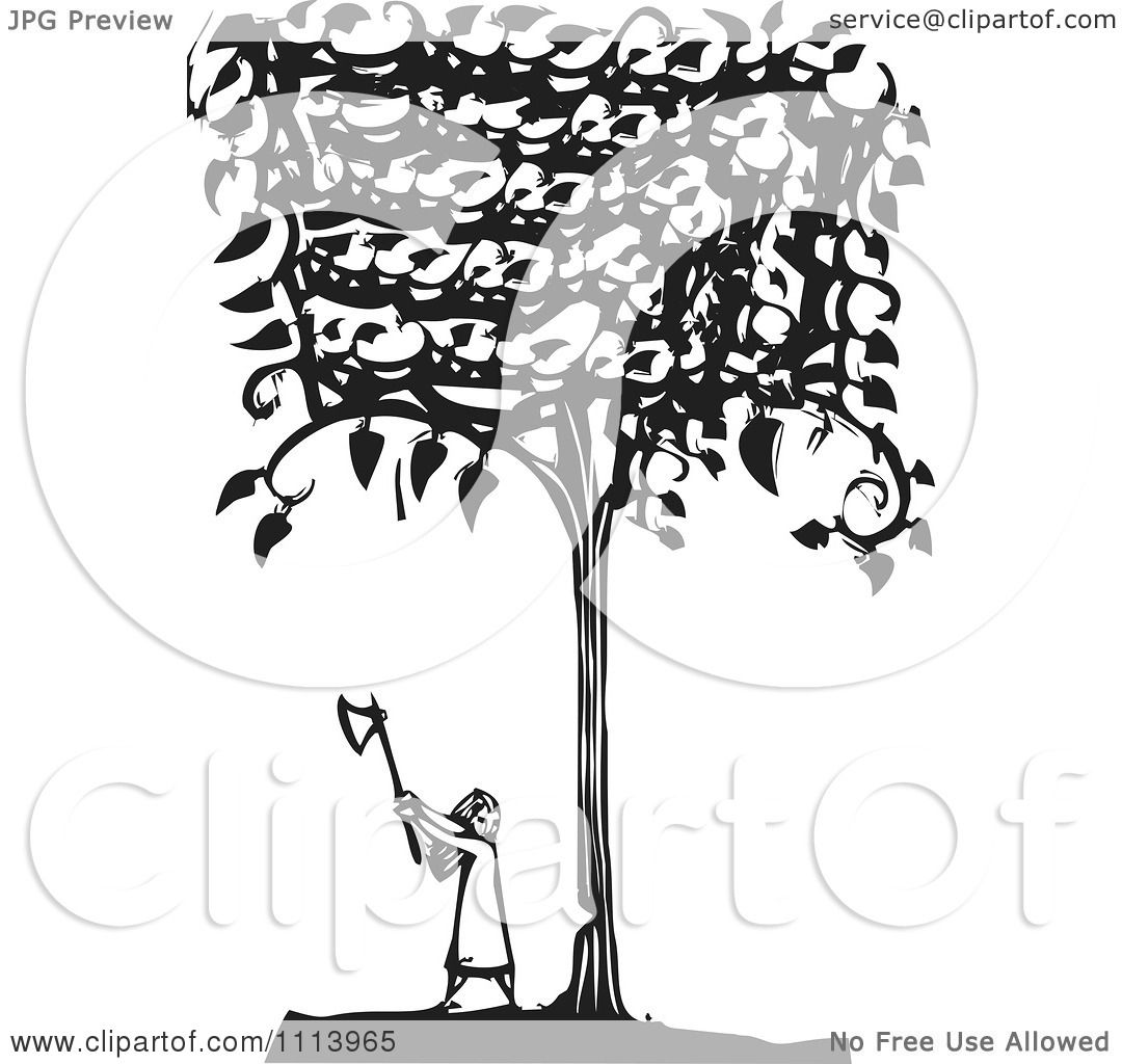 Clipart Girl Cutting Down A Tree Black And White Woodcut ...