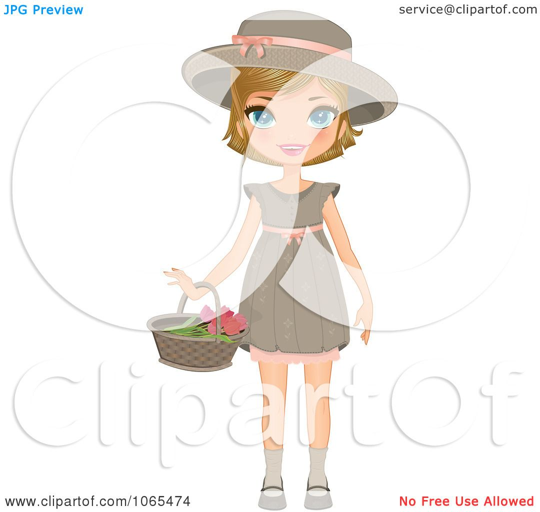 clipart girl holding flowers - photo #25