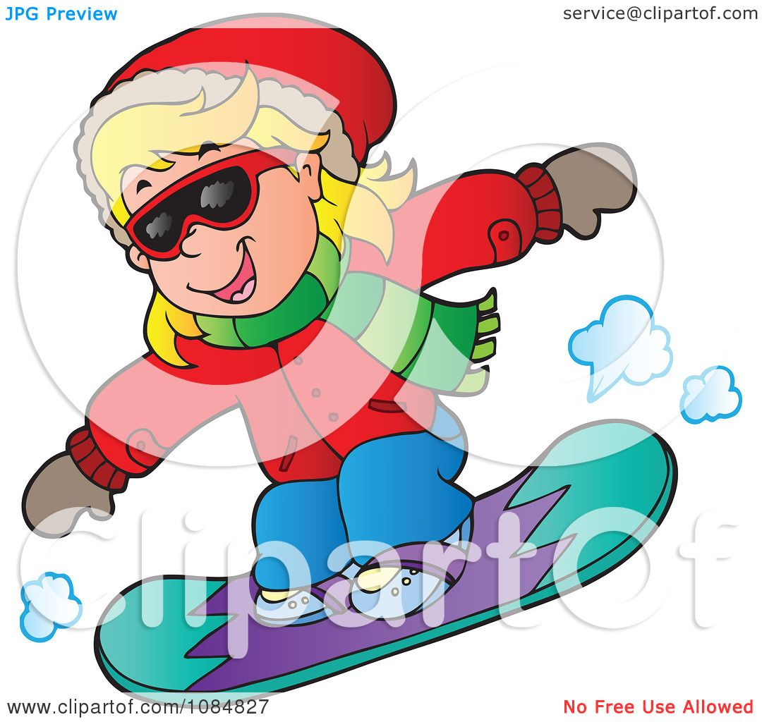 Clipart Girl Snowboarding In An Red Jacket - Royalty Free Vector ...