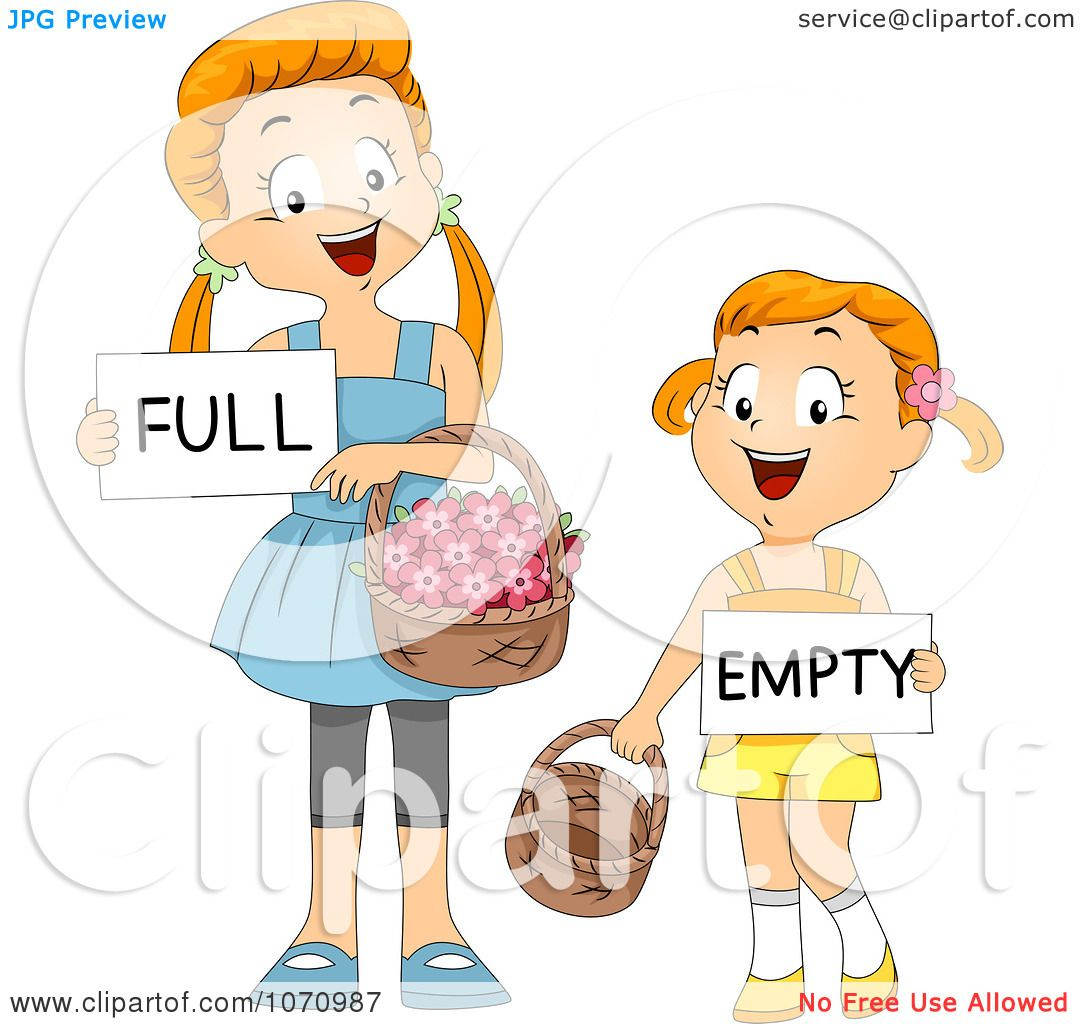 Clipart Girls Comparing Full And Empty Flower Baskets ...