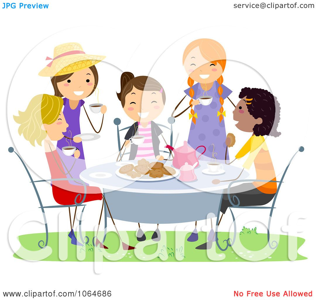 Clipart Girls Having A Tea Party - Royalty Free Vector ...