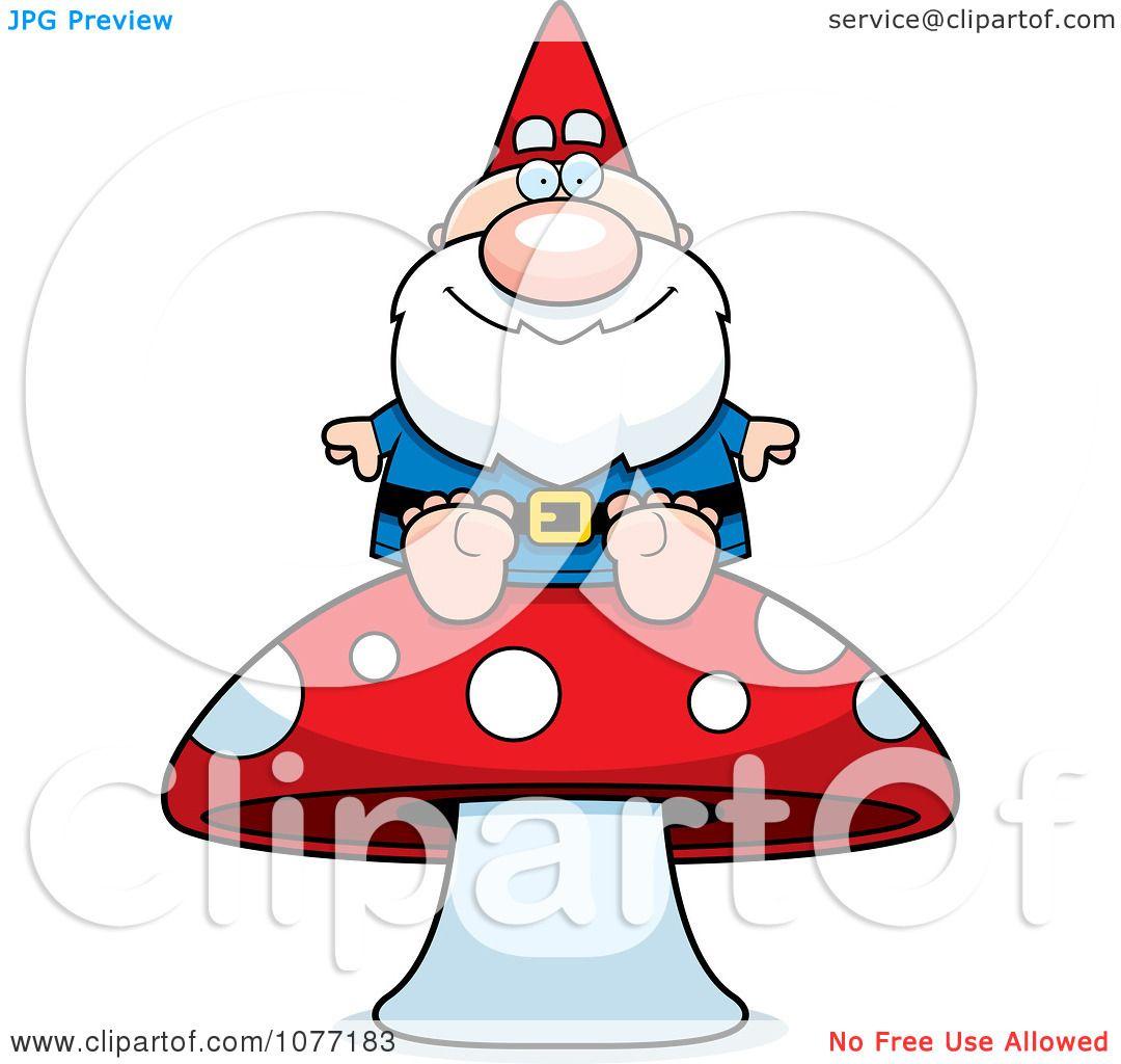 Gnome Clip Art: Clipart Gnome Sitting On A Mushroom