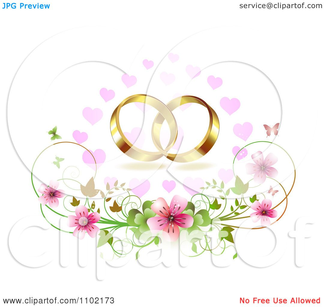 Clipart Gold Wedding Bands Over Cherry Blossoms Hearts And