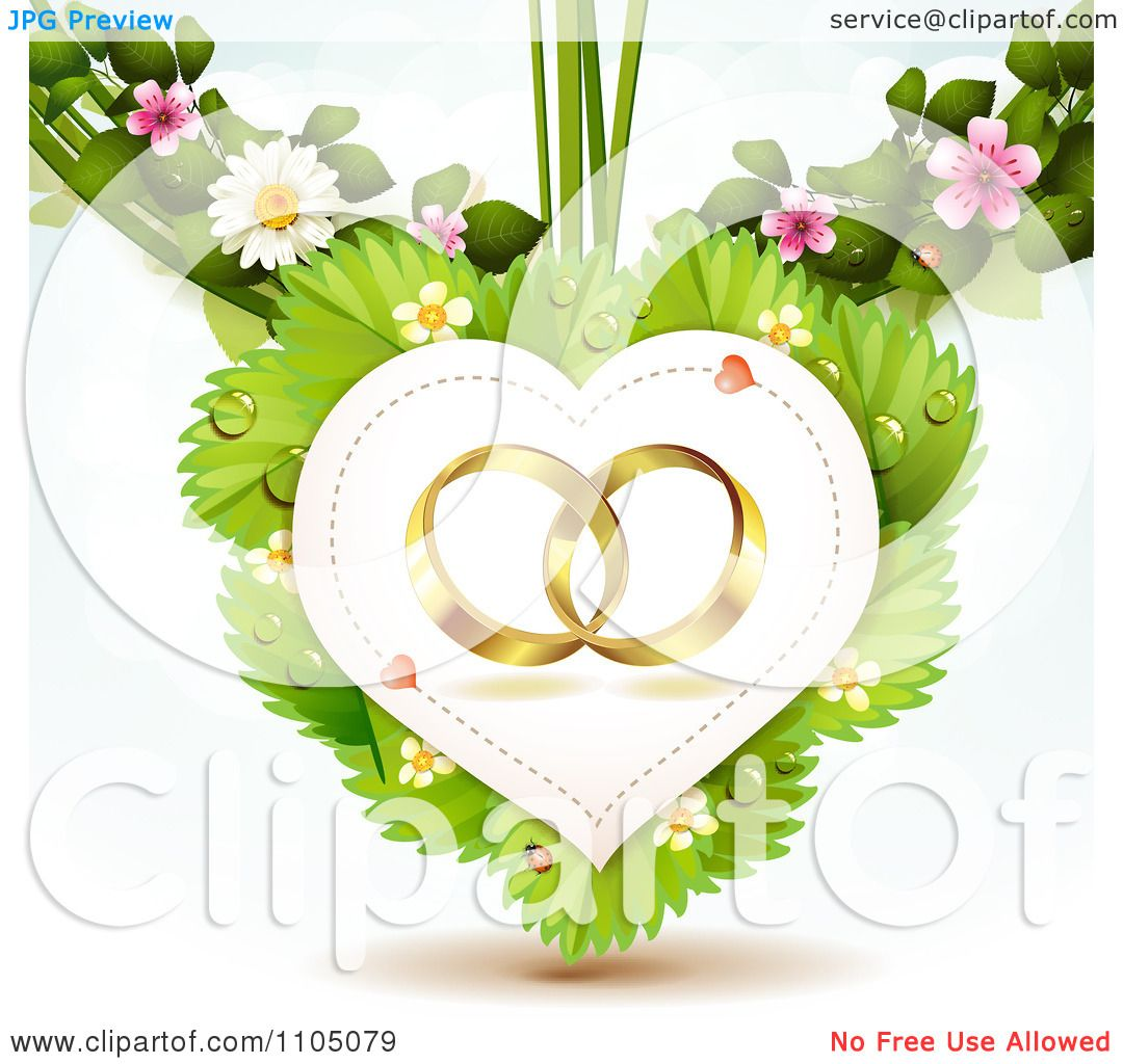 Clipart Gold Wedding Rings In A Heart On Leaves With Blossoms