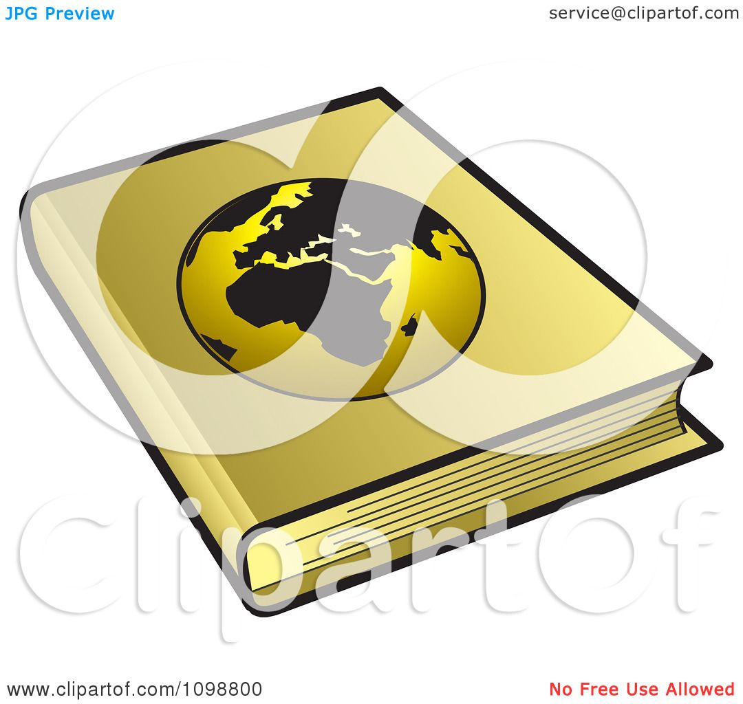 Book Cover Illustration Royalties : Clipart golden geography book with a globe cover royalty
