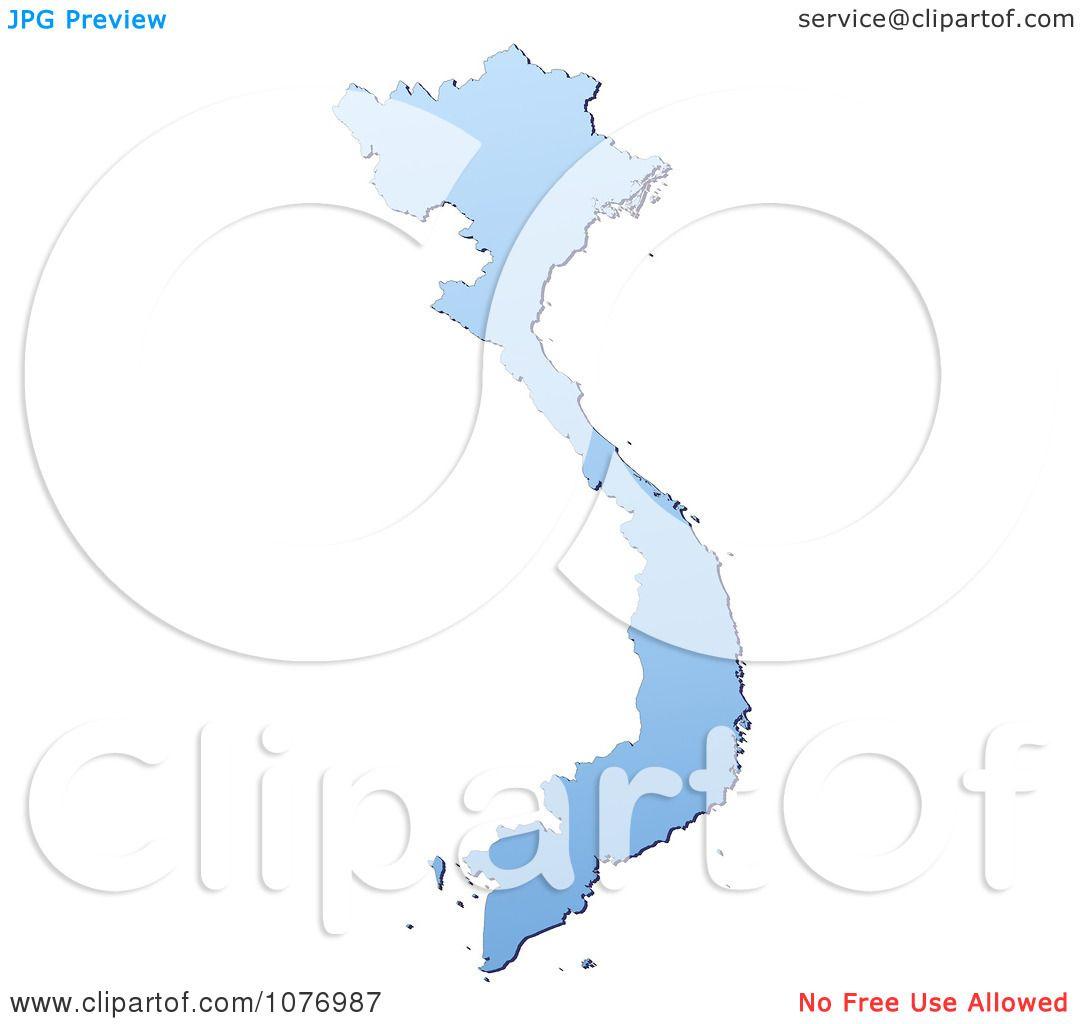 Clipart Gradient Blue Vietnam Mercator Projection Map - Royalty ...