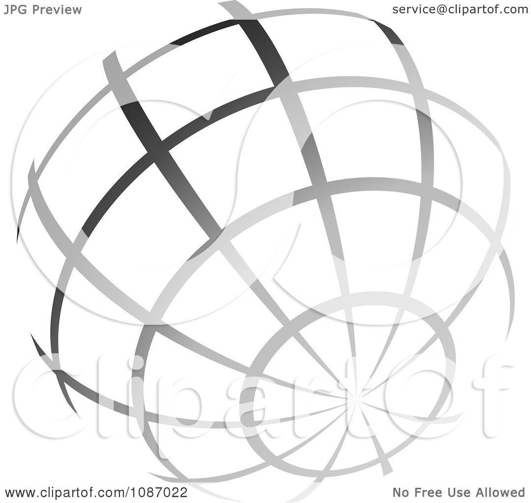 clipart gradient gray wire globe