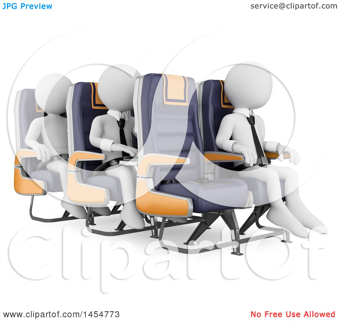Clipart Graphic Of 3d White Business Men In Airplane Seats