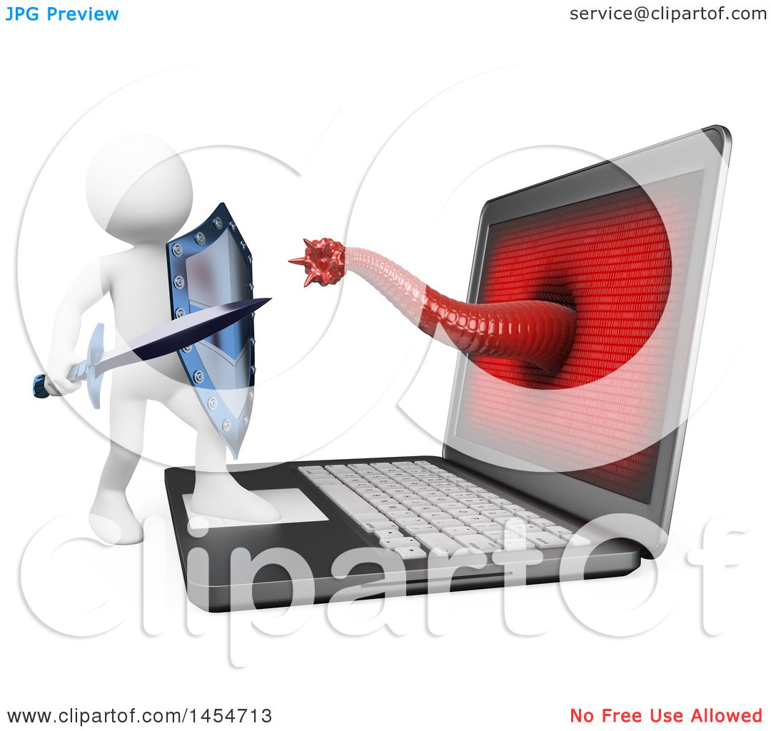 Clipart Graphic of a 3d White Man Fighting a Computer Virus, on a ...