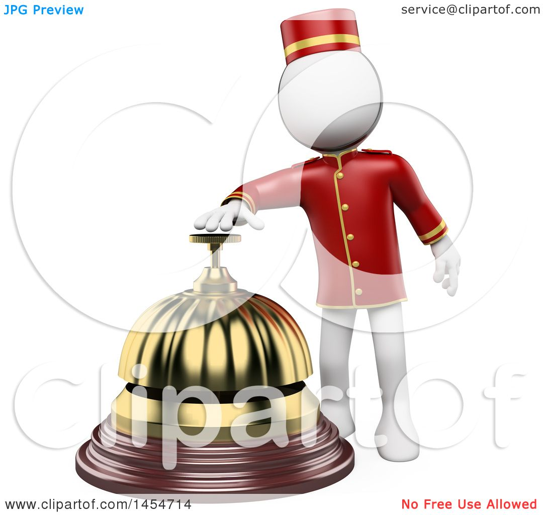 Clipart Graphic of a 3d White Man Hotel Worker Ringing a
