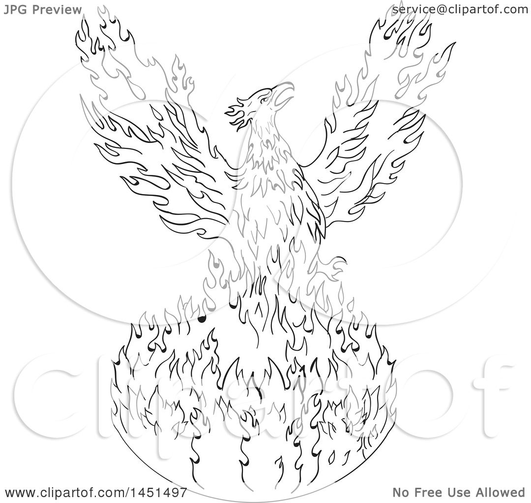 Clipart Graphic Of A Black And White Drawing Sketch Styled