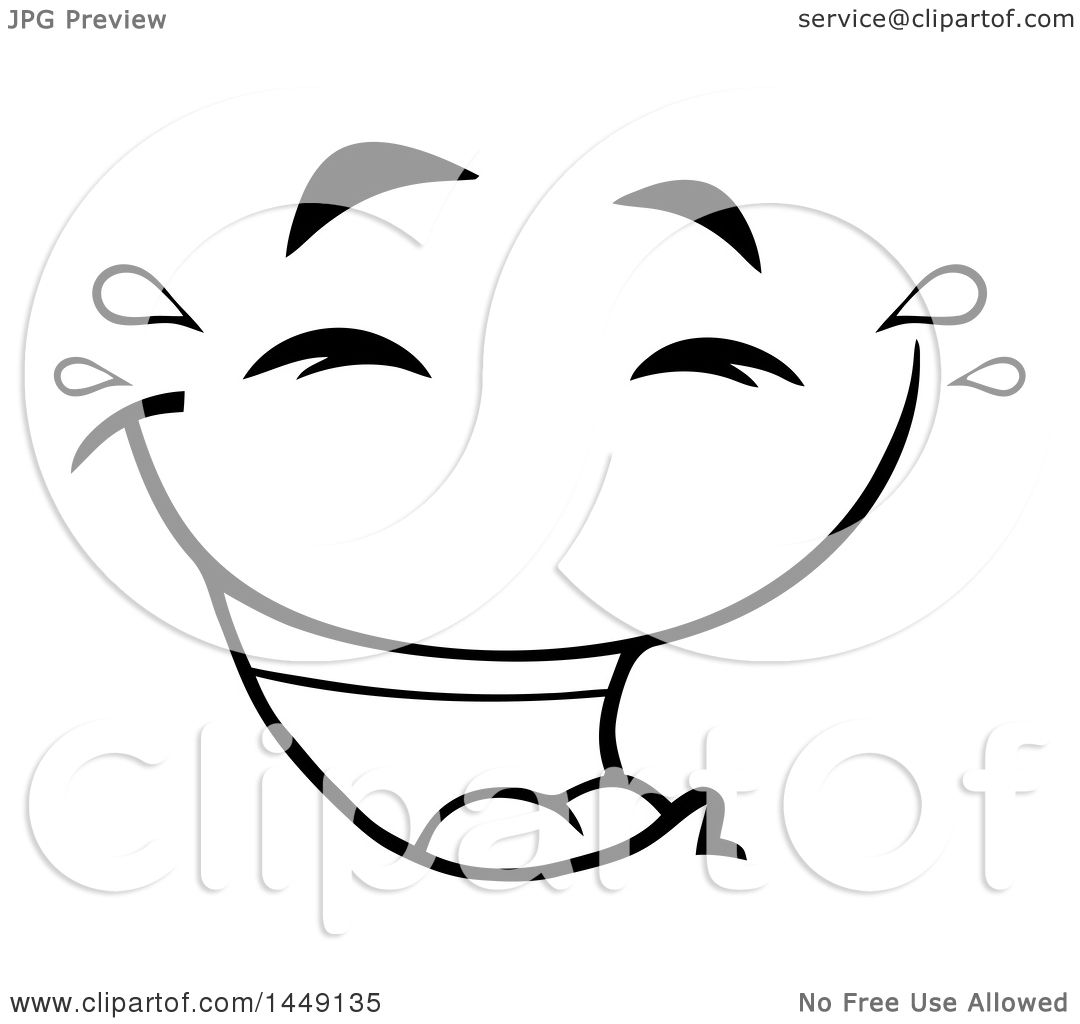 Clipart Graphic of a Black and White Laughing and Crying Face - Royalty Free Vector ...