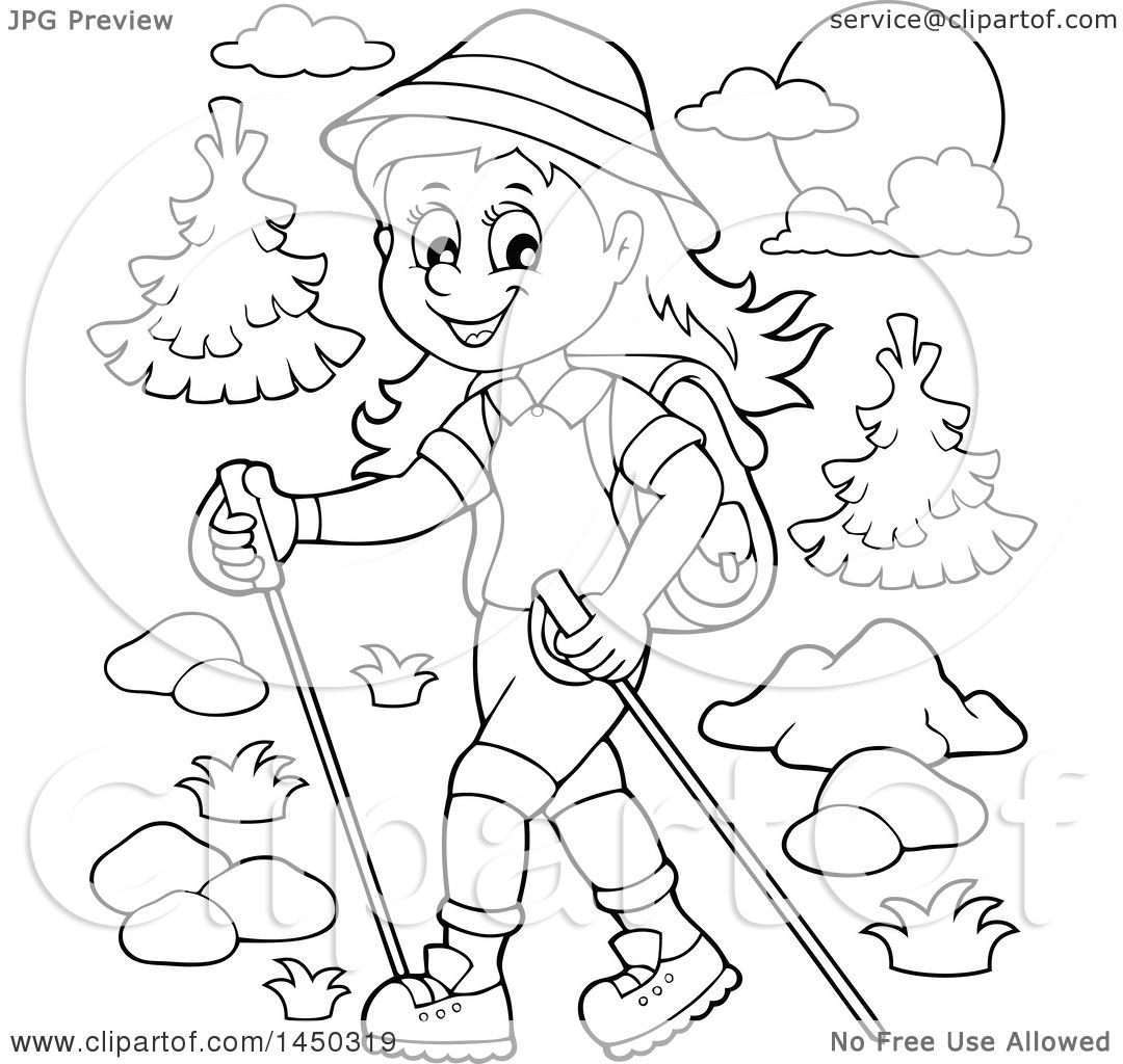 Clipart Graphic Of A Black And White Lineart Happy Girl Hiking With Poles