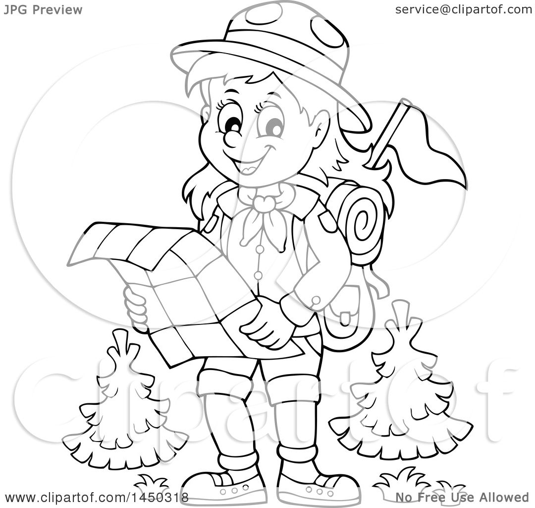 Clipart Graphic of a Black and White Lineart Hiking Scout Girl Reading a Map - Royalty ...
