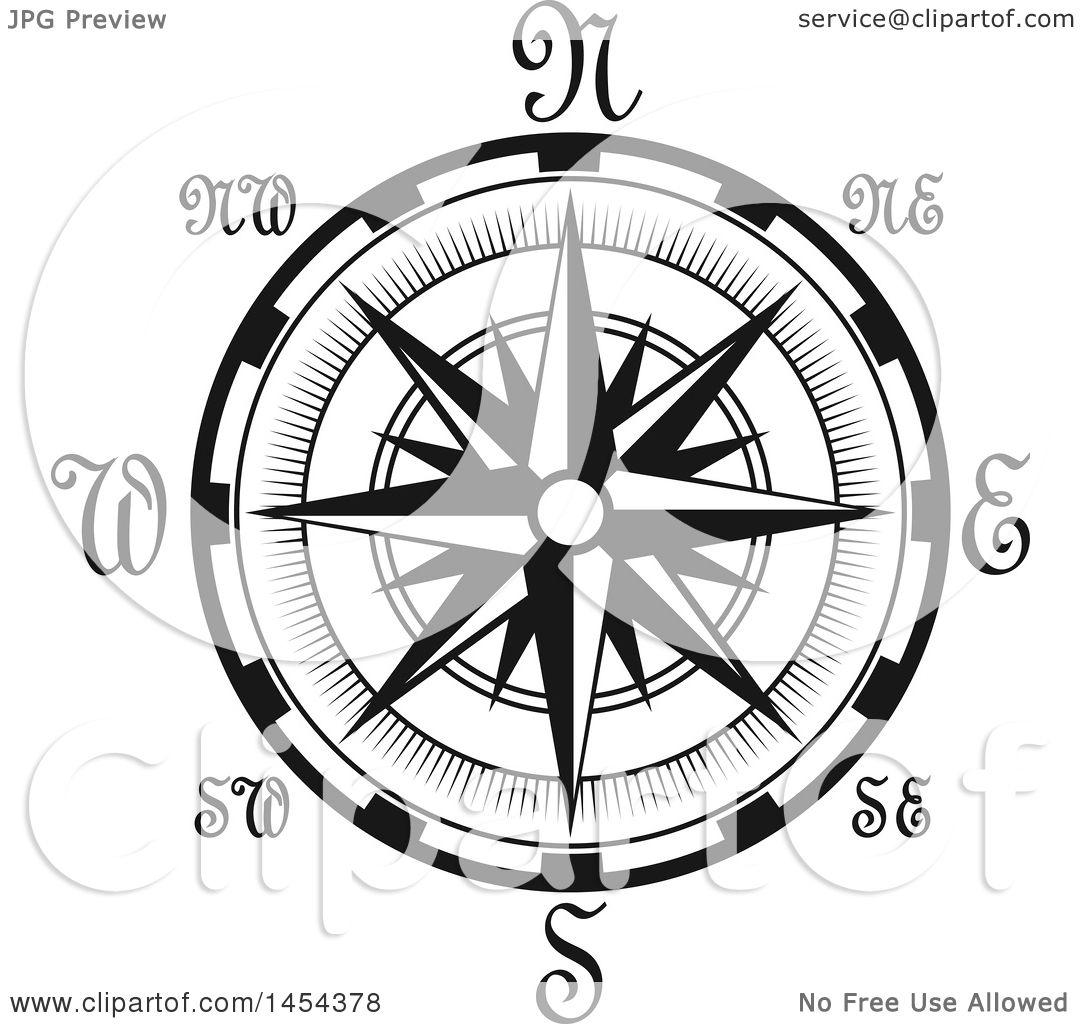 Clipart Graphic Of A Black And White Nautical Compass Rose