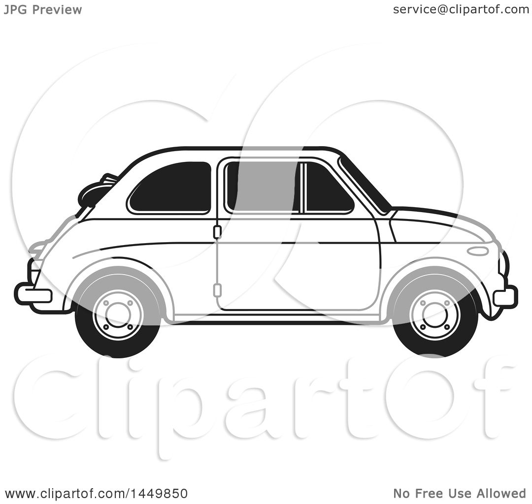 Clipart Graphic of a Black and White Vintage Car - Royalty Free ...