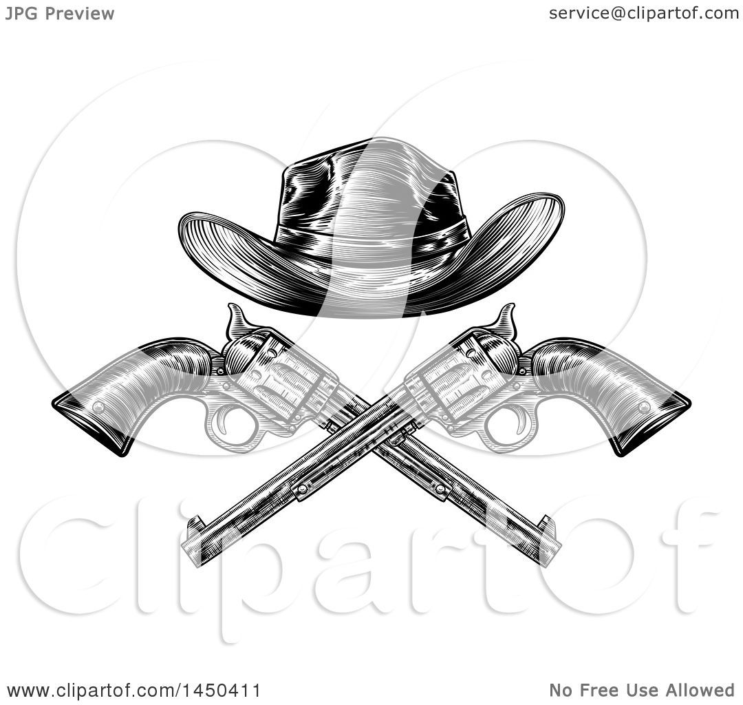 3fe1b64c Clipart Graphic of a Black and White Woodcut Etched or Engraved Crossed Cowboy  Hat over Vintage