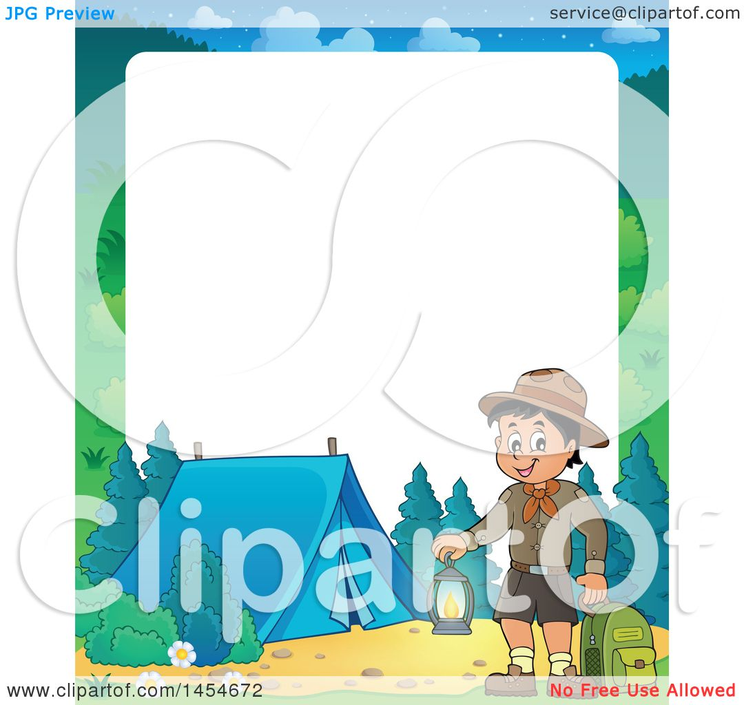 Clipart Graphic Of A Border Scout Boy Holding Lantern And Backpack At Camping Site